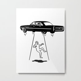 car abduction of aliens Metal Print