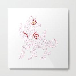 Okami Amaterasu - Cherry Blossom Form [WHITE] Metal Print