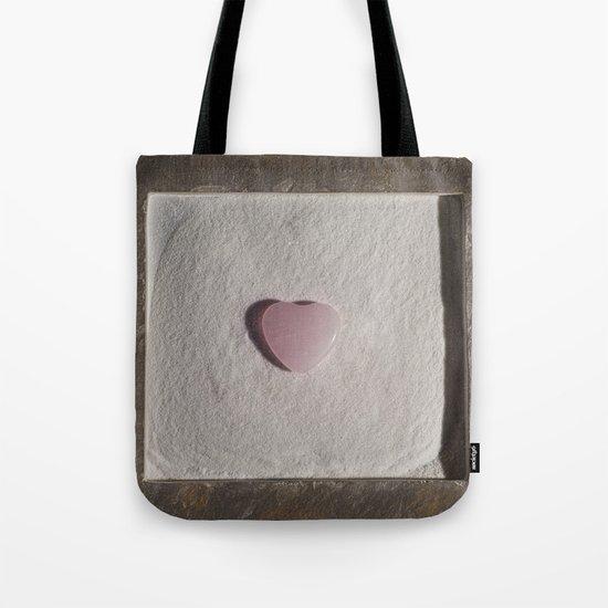 Rose Quartz heart in a zen garden Tote Bag