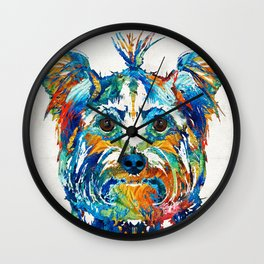Colorful Yorkie Dog Art - Yorkshire Terrier - By Sharon Cummings Wall Clock