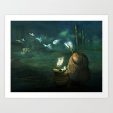 The Moth Basket Art Print
