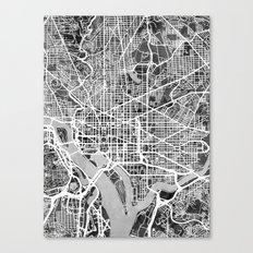 Washington DC City Street Map Canvas Print