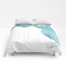 Watercolor State Map - Florida FL blue green Comforters