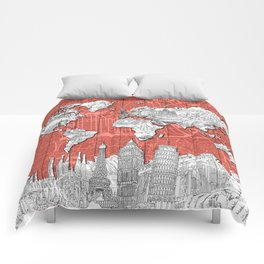 world map city skyline 9 Comforters
