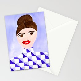 Checked Woman Stationery Cards