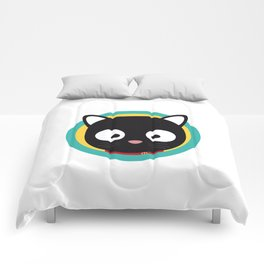 Black Cat with Green Circle Comforters
