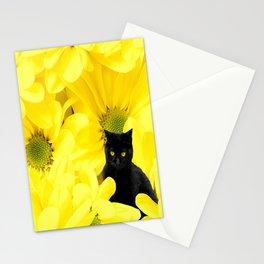 Black Cat Yellow Flowers Spring Mood #decor #society6 #buyart Stationery Cards