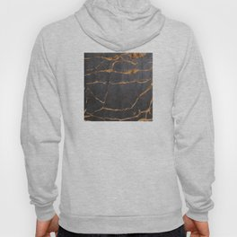 Scratched Suede and Gold Cracks Abstract Hoody