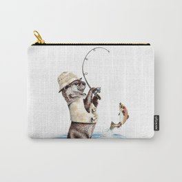 """"""" Natures Fisherman """" fishing river otter with trout Carry-All Pouch"""