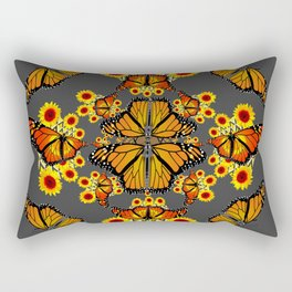 GREY COLOR SUNFLOWERS & MONARCH BUTTERFLY ABSTRACT Rectangular Pillow