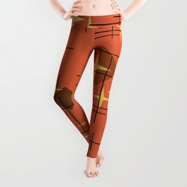 MidCentury Modern Pattern Burnt Orange Leggings