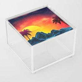 Sunset Vaporwave landscape with rocks and palms Acrylic Box