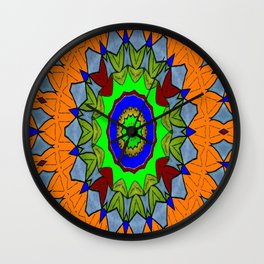 Lovely Healing Mandala  in Brilliant Colors: Orange, Royal Blue, Gray, Olive, Green, and Maroon Wall Clock