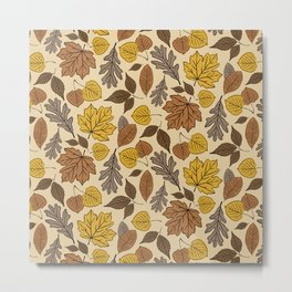 Falling Leaves Pattern Metal Print