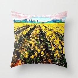 Golden Daffodil Field Throw Pillow