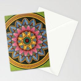 Indian Wall Flower Mandala green Stationery Cards