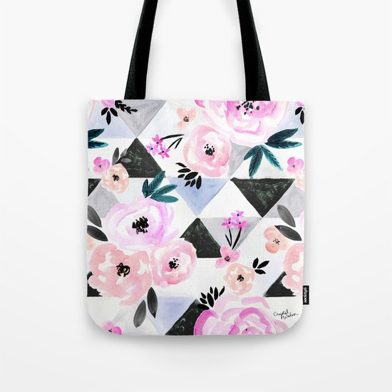 Sunset Rose Triangles Tote Bag