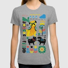 Scandinavian Pugs Tri-Grey SMALL Womens Fitted Tee