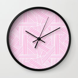 Sketchy Abstract (White & Pink Pattern) Wall Clock