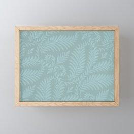 Fancy Light Blue Leaves Scroll Damask on Dark Turquoise Framed Mini Art Print