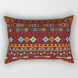 Aztec Influence Ptn IV Orange Red Blue Black Yellow Rectangular Pillow