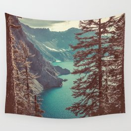 Vintage Blue Crater Lake and Trees - Nature Photography Wall Tapestry