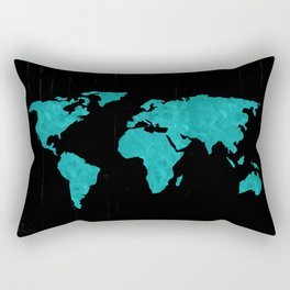 Teal Cyan Metallic Foil Map on Black Rectangular Pillow