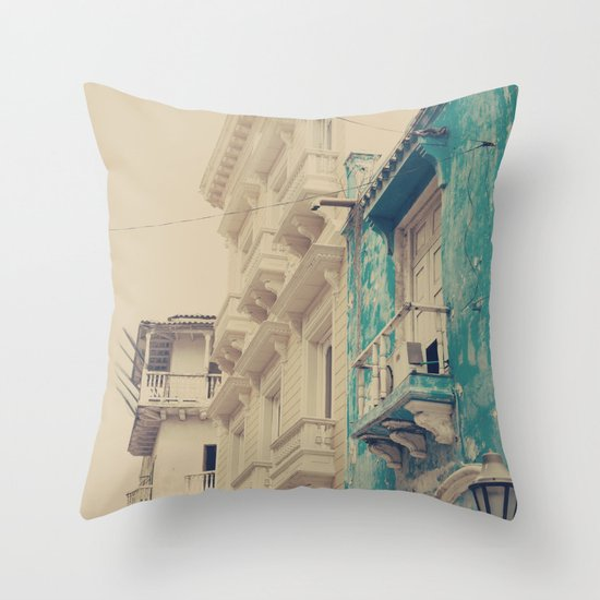 Grunge Summer Town (Retro and Vintage Urban, architecture photography, blue and cream) Throw Pillow