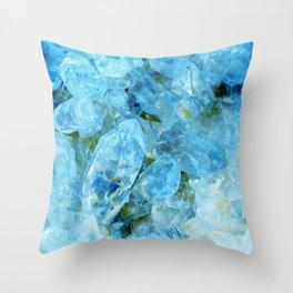 Blue Crystal Geode Art Throw Pillow