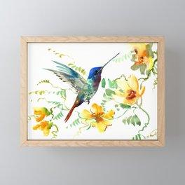 Hummingbird and Flowers, floral design Hawaiian tropical Framed Mini Art Print
