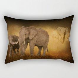 Elephants In The Tall Grass Rectangular Pillow