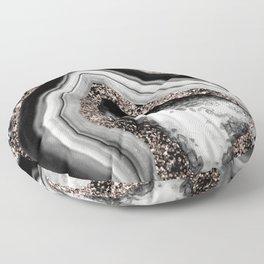 Agate Rose Gold Glitter Glam #4 #gem #decor #art #society6 Floor Pillow