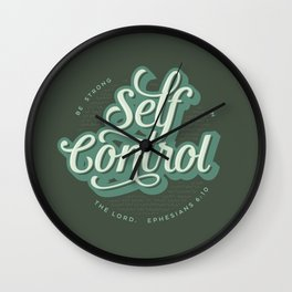 """Self Control: """"Be Strong in the Lord"""" Quote Wall Clock"""
