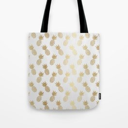 Gold Pineapple Pattern Tote Bag
