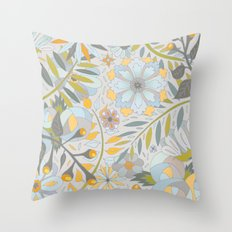 Faded Summer Blossoms Throw Pillow