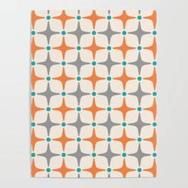 Mid Century Modern Star Pattern Grey and Orange Poster