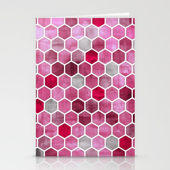 Pink Ink - watercolor hexagon pattern Stationery Cards