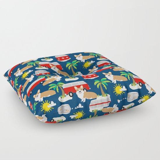 Corgi beach summer design Floor Pillow
