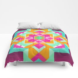 Geometric Tribal Mandala Inspired Modern Trendy Vibrant (Mint Green, Maroon, Wine, Hot Pink, Orange) Comforters