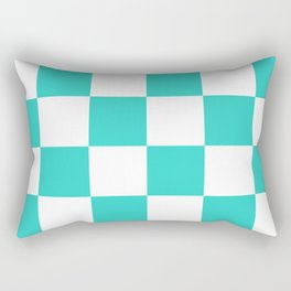 Large Checkered - White and Turquoise Rectangular Pillow