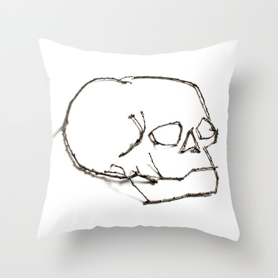 47. Twiggy Skull Throw Pillow