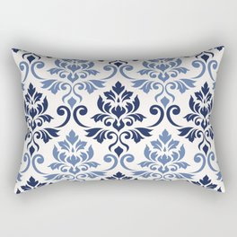 Feuille Damask Pattern Blues on Cream Rectangular Pillow
