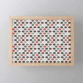 Retro Lips - Red, Grey and Black Pattern Framed Mini Art Print