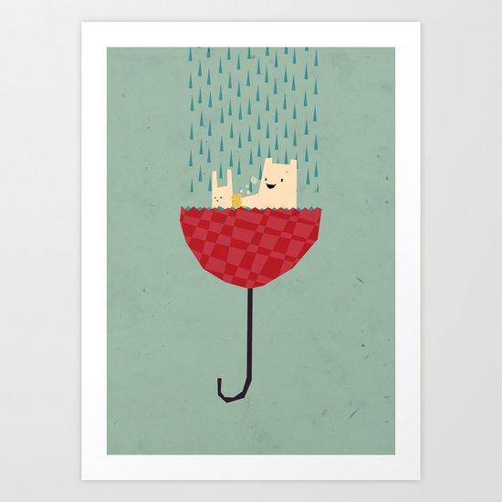 umbrella bath time! Art Print