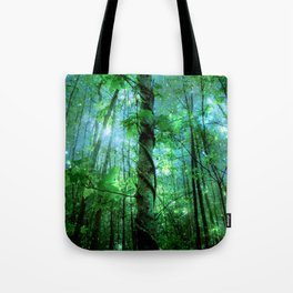 Forest Of The Fairies Green Blue Tote Bag