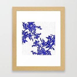BLUE AND WHITE  TOILE LEAF Framed Art Print