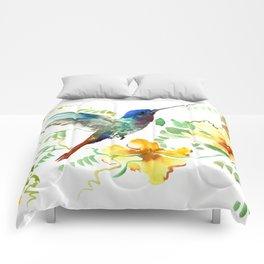 Hummingbird and Flowers, floral design Hawaiian tropical Comforters