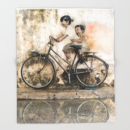 Kids on Bicycle - Reflections of Penang Throw Blanket