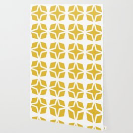 Mid Century Modern Star Pattern Mustard Yellow 551 Wallpaper