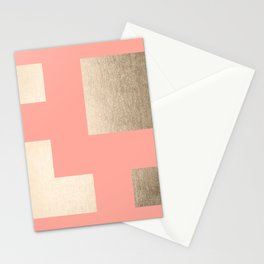 Simply Geometric White Gold Sands on Salmon Pink Stationery Cards